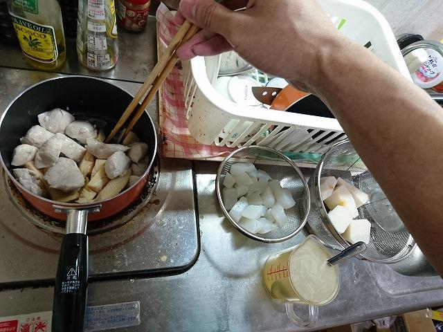 筑前煮調理開始